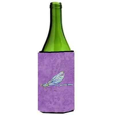 Carolines Treasures Dragonfly On Purple Wine bottle sleeve Hugger 24 oz.