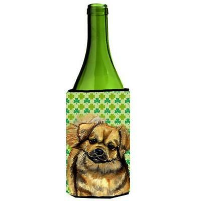 Tibetan Spaniel St. Patricks Day Shamrock Portrait Wine bottle sleeve Hugger ...