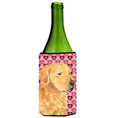 Golden Retriever Hearts Love Valentines Day Wine bottle sleeve Hugger 24 oz.