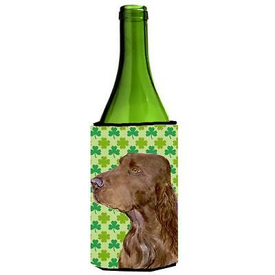 Field Spaniel St. Patricks Day Shamrock Portrait Wine bottle sleeve Hugger 24...