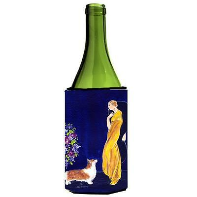 Carolines Treasures Lady With Her Corgi Wine bottle sleeve Hugger 24 oz.