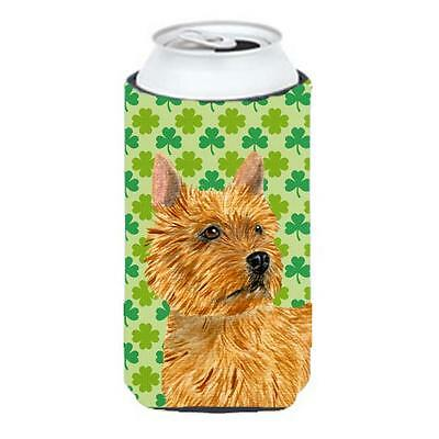 Norwich Terrier St. Patricks Day Shamrock Portrait Tall Boy bottle sleeve Hug...