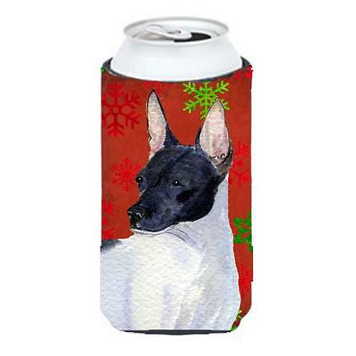 Rat Terrier Red And Green Snowflakes Holiday Christmas Tall Boy bottle sleeve...