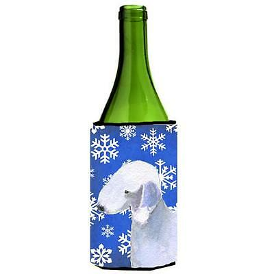 Bedlington Terrier Winter Snowflakes Holiday Wine bottle sleeve Hugger