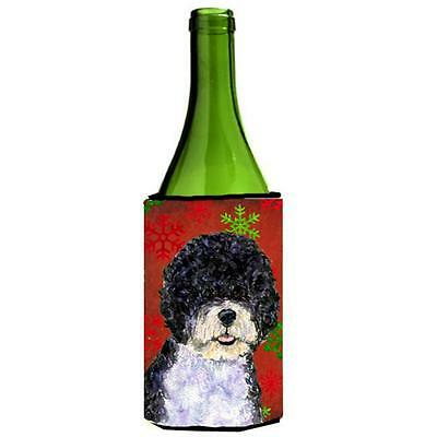 Portuguese Water Dog Red Green Snowflake Christmas Wine bottle sleeve Hugger ...
