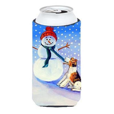 Snowman With Fox Terrier Tall Boy bottle sleeve Hugger 22 To 24 oz.