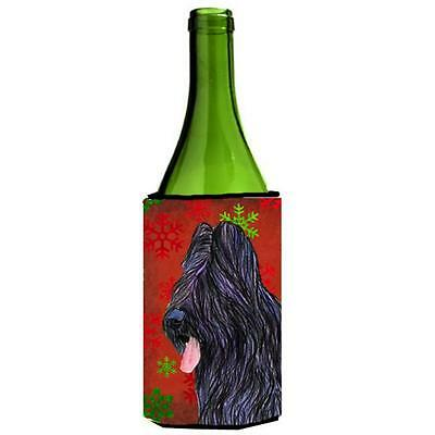 Briard Red And Green Snowflakes Holiday Christmas Wine bottle sleeve Hugger 2...