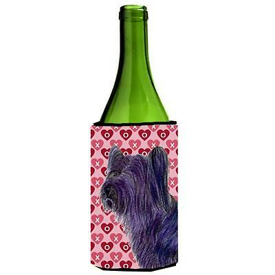 Skye Terrier Hearts Love And Valentines Day Portrait Wine bottle sleeve Hugge...