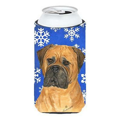 Bullmastiff Winter Snowflakes Holiday Tall Boy bottle sleeve Hugger 22 To 24 oz.