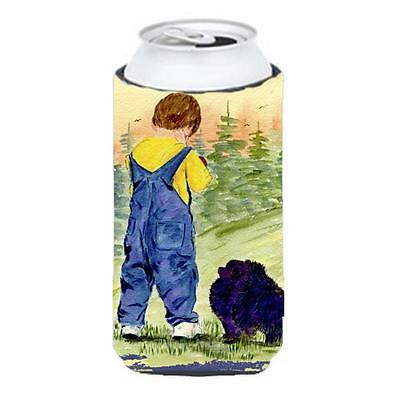 Little Boy With His Pomeranian Tall Boy bottle sleeve Hugger 22 To 24 oz.