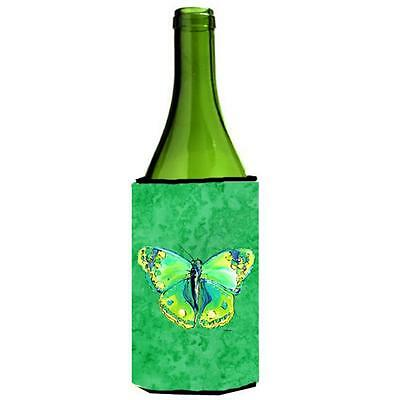 Carolines Treasures Butterfly Green On Green Wine bottle sleeve Hugger 24 oz.