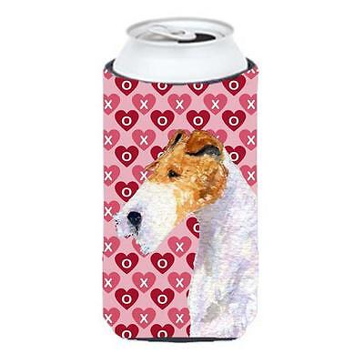 Fox Terrier Hearts Love And Valentines Day Portrait Tall Boy bottle sleeve Hu...