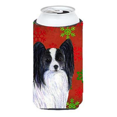 Papillon Red And Green Snowflakes Holiday Christmas Tall Boy bottle sleeve Hu...