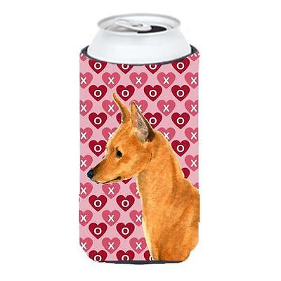 Min Pin Hearts Love And Valentines Day Portrait Tall Boy bottle sleeve Hugger...