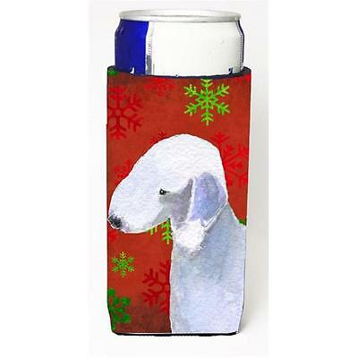 Bedlington Terrier Red And Green Snowflakes Holiday Christmas Michelob Ultra ...