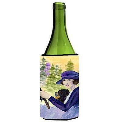 Lady Driving With Her Pomeranian Wine bottle sleeve Hugger 24 oz.