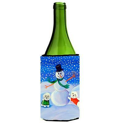 Carolines Treasures Snowman Bichon Frise Wine bottle sleeve Hugger 24 oz.