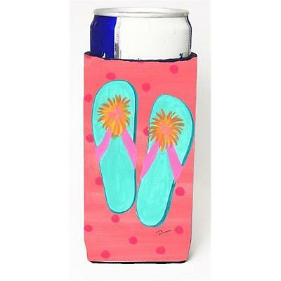 Carolines Treasures Flip Flops Pink Michelob Ultra bottle sleeve for Slim Can