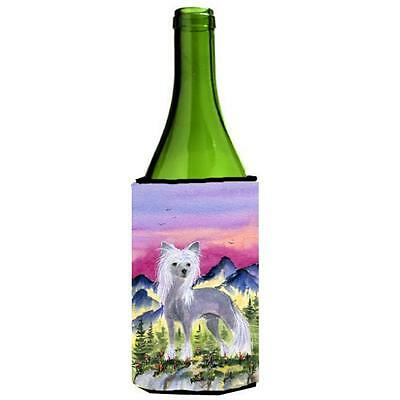 Carolines Treasures Chinese Crested Wine bottle sleeve Hugger 24 oz.