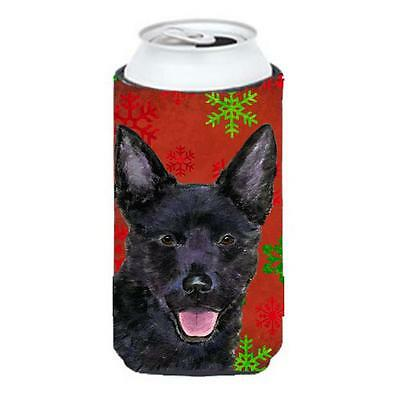Australian Kelpie Red Green Snowflakes Christmas Tall Boy bottle sleeve Hugge... • AUD 47.47