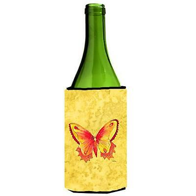 Carolines Treasures Butterfly On Yellow Wine bottle sleeve Hugger 24 oz.
