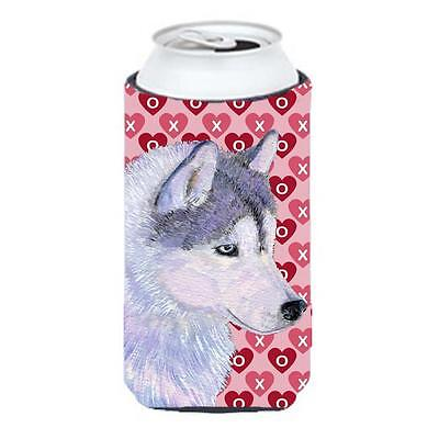 Siberian Husky Hearts Love Valentines Day Tall Boy bottle sleeve Hugger 22 To...
