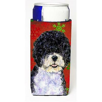 Portuguese Water Dog Red Green Snowflake Christmas Michelob Ultra bottle slee...