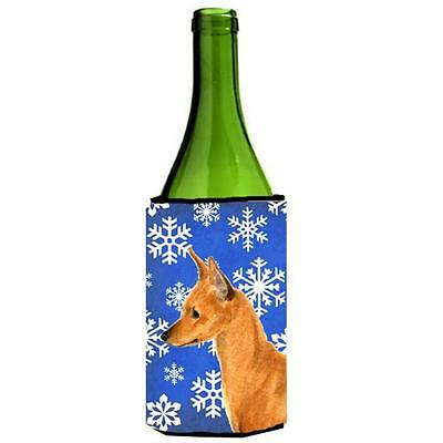Carolines Treasures Min Pin Winter Snowflakes Holiday Wine bottle sleeve Hugger