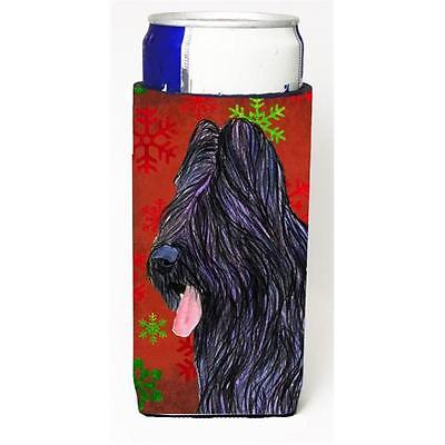 Briard Red And Green Snowflakes Holiday Christmas Michelob Ultra bottle sleev...