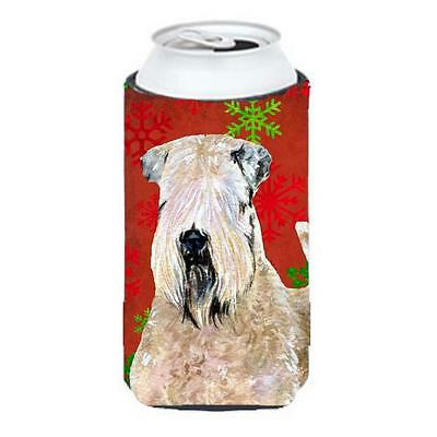 Wheaten Terrier Soft Coated Snowflakes Holiday Christmas Tall Boy bottle slee...