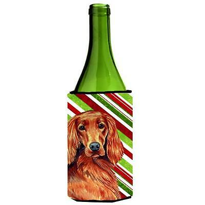Irish Setter Candy Cane Holiday Christmas Wine bottle sleeve Hugger 24 oz.
