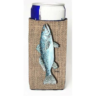 Fish Speckled Trout On Faux Burlap Michelob Ultra bottle sleeves For Slim Can...