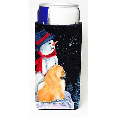 Snowman With Chow Chow Michelob Ultra bottle sleeves For Slim Cans 12 oz.