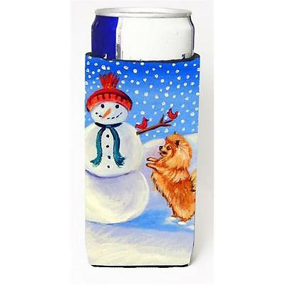 Snowman With Pomeranian Winter Snowman Michelob Ultra bottle sleeves For Slim...