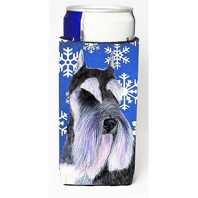 Schnauzer Winter Snowflakes Holiday Michelob Ultra bottle sleeve for Slim Can