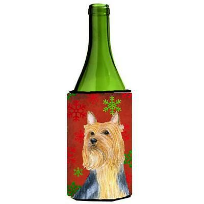 Silky Terrier Red Green Snowflake Holiday Christmas Wine bottle sleeve Hugger