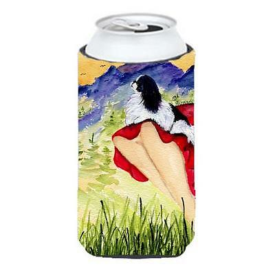 Lady With Her Japanese Chin Tall Boy bottle sleeve Hugger 22 To 24 oz.