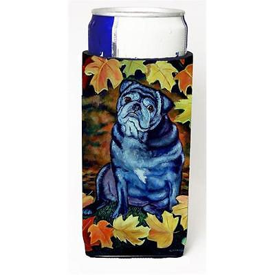 Old Black Pug In Fall Leaves Michelob Ultra bottle sleeves For Slim Cans 12 oz.