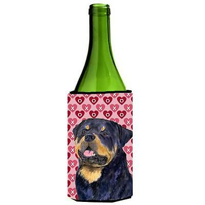 Rottweiler Hearts Love And Valentines Day Portrait Wine bottle sleeve Hugger