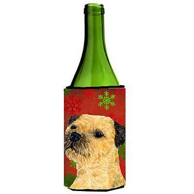 Border Terrier Snowflakes Holiday Christmas Wine bottle sleeve Hugger