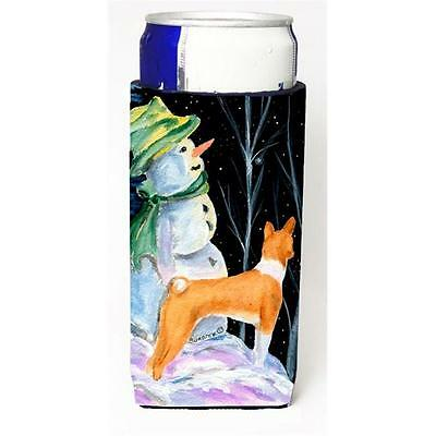 Snowman With Basenji Michelob Ultra bottle sleeves For Slim Cans 12 oz.