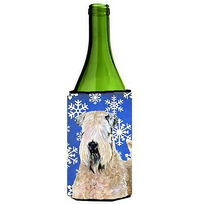 Wheaten Terrier Soft Coated Winter Snowflakes Holiday Wine bottle sleeve Hugg...