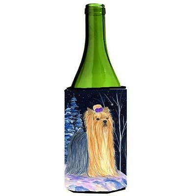 Carolines Treasures Starry Night Yorkie Wine bottle sleeve Hugger 24 oz.