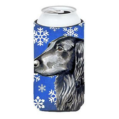 Flat Coated Retriever Winter Snowflakes Holiday Tall Boy bottle sleeve Hugger...
