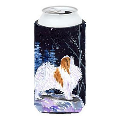 Starry Night Japanese Chin Tall Boy bottle sleeve Hugger 22 To 24 oz.