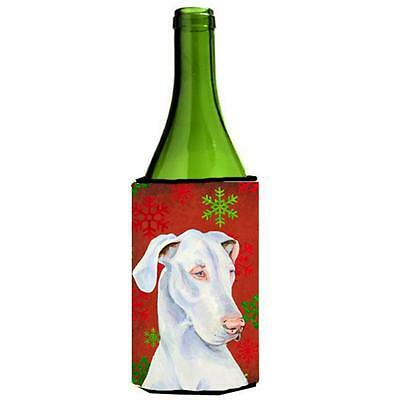 Great Dane Red And Green Holiday Christmas Wine bottle sleeve Hugger