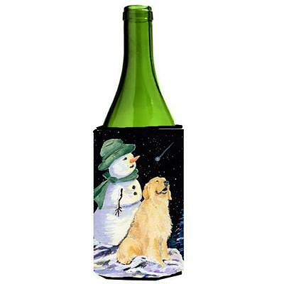 Golden Retriever With Snowman In Green Hat Wine bottle sleeve Hugger 24 oz.