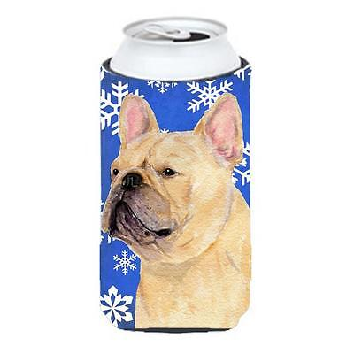 French Bulldog Winter Snowflakes Holiday Tall Boy bottle sleeve Hugger