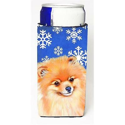 Pomeranian Winter Snowflakes Holiday Michelob Ultra bottle sleeves For Slim C...