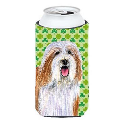 Bearded Collie St. Patricks Day Shamrock Portrait Tall Boy bottle sleeve Hugg...